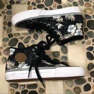 Black Floral Center High Top Sneaker W sz 9